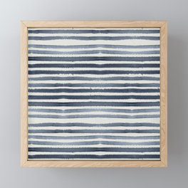 Simply Shibori Stripes Indigo Blue on Lunar Gray Framed Mini Art Print
