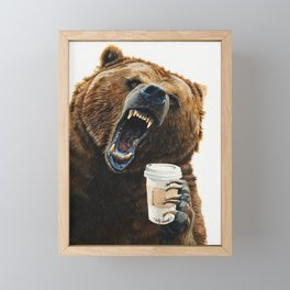 """ Grizzly Mornings "" give that bear some coffee Framed Mini Art Print"