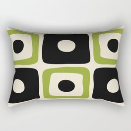 Mid Century Modern Square Dot Pattern 592 Black and Chartreuse Rectangular Pillow