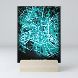 San Luis Potosi, Mexico, Blue, White, Neon, Glow, City, Map Mini Art Print