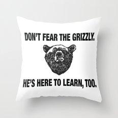Grizzly bears, not guns Throw Pillow