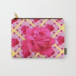 FUCHSIA PINK ROSE PATTERNS & YELLOW GARDEN ART Carry-All Pouch