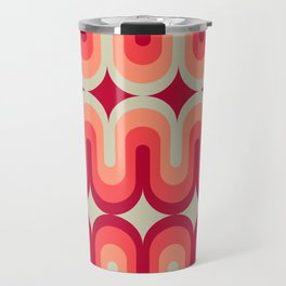 70s Geometric Design - Pink and Red Swoops Travel Mug