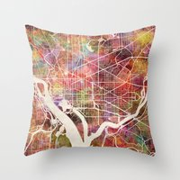 washington Throw Pillows featuring Washington by MapMapMaps.Watercolors