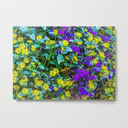 Coloured flowers in the Alps Metal Print