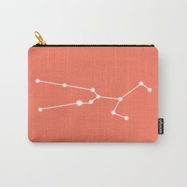 Taurus Zodiac Constellation - Coral Red Carry-All Pouch