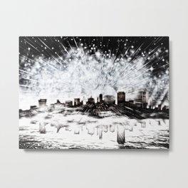 Feuerwerk über der Stadt Metal Print