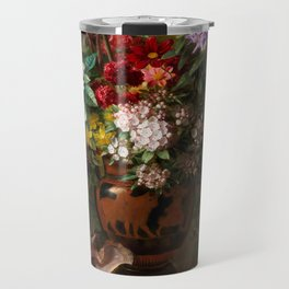 """George Jacobus Johannes van Os """"Still Life with Flowers in a Greek Vase Allegory of Spring"""" Travel Mug"""