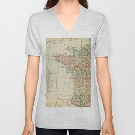 Old Map of the West of France Unisex V-Neck