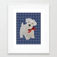 westie Framed Art Prints featuring Westie by Carrie McFerron