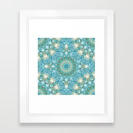 Turquoise and Gold Mandala Tile Framed Art Print