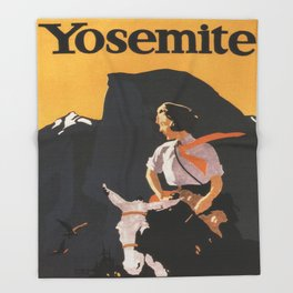 Retro Yosemite Travel Poster Throw Blanket