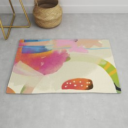 the window to my garden - minimal color abstract modern art Rug