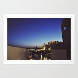 Moonrise over Santorini Art Print