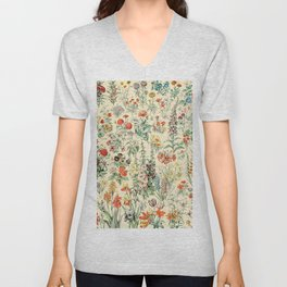 Wildflower Diagram // Fleurs II by Adolphe Millot XL 19th Century Science Textbook Artwork Unisex V-Neck