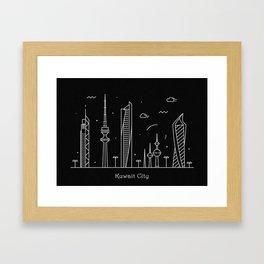 Kuwait City Minimal Nightscape / Skyline Drawing Framed Art Print
