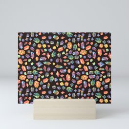 Pattern - watercolor gems Mini Art Print