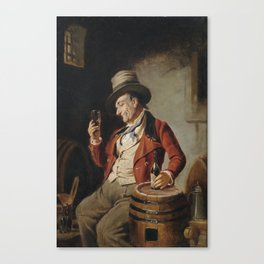 Old Man Drinking Beer Painting Canvas Print
