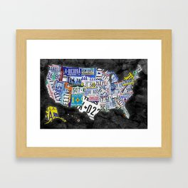 USA MAP Consisting of all States' License Plates Framed Art Print
