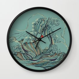 Kissing The Wave Wall Clock