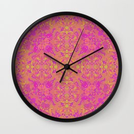 Pink, Orange, and Yellow Kaleidoscope 3 Wall Clock