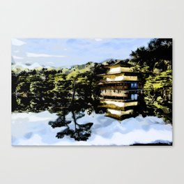 Japanese House By Lake Canvas Print