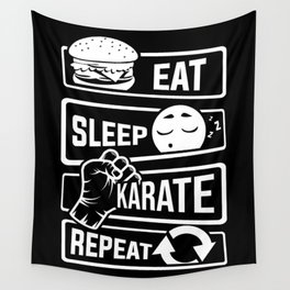 Eat Sleep Karate Repeat - Martial Arts Defence Wall Tapestry
