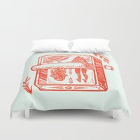 fish Duvet Covers featuring Little Fish by Karl James Mountford