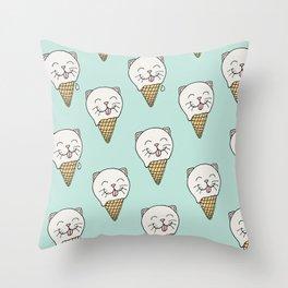 Kitty-Cream Throw Pillow