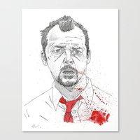 shaun of the dead Canvas Prints featuring Shaun of the Dead by Andy Christofi