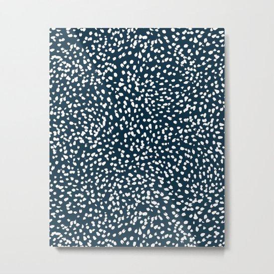 Navy Dots abstract minimal print design pattern brushstrokes painterly painting love boho urban chic Metal Print
