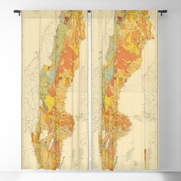 Vintage Geological Map of Sweden (1910) Blackout Curtain