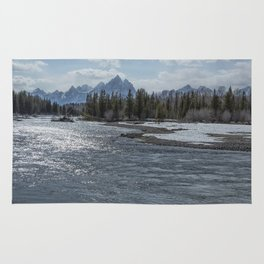 Shimmering Snake River and the Tetons Rug