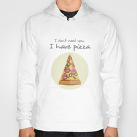 pizza Hoodies featuring pizza by Maha Akl