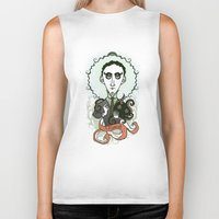 lovecraft Biker Tanks featuring Lovecraft Holy Writer by roberto lanznaster