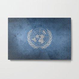 Grunge United Nations flag Metal Print