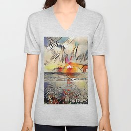 Sunset over the Pacific Unisex V-Neck