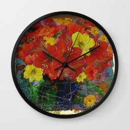 GRUNGY ANTIQUE RED FLORAL STILL LIFE Wall Clock