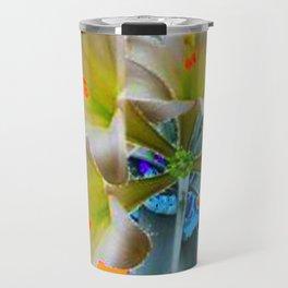 EASTER LILIES FLOWER  BLUE-GOLD FLORAL Travel Mug