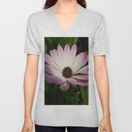 Side View of A Pink and White Osteospermum Unisex V-Neck
