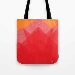 Colorful Red Abstract Mountain Tote Bag