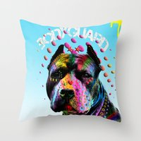 pitbull Throw Pillows featuring pitbull  by mark ashkenazi