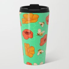 Poppies & Bees Metal Travel Mug