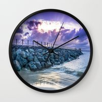paper towns Wall Clocks featuring The Towns Pier  by Jean M. Valentin