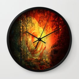 Rose At Fire Lake By Annie Zeno Wall Clock