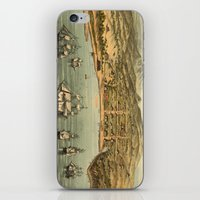 san francisco map iPhone & iPod Skins featuring Vintage Pictorial Map of San Francisco (1884)  by BravuraMedia