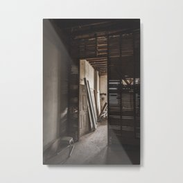 Light and Shadows in an Abandoned Building Metal Print