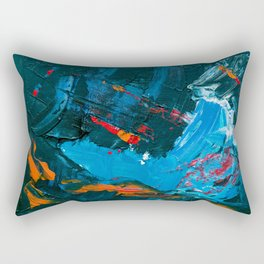 Blue Wave Oil Painting Rectangular Pillow