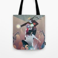 sasuke Tote Bags featuring Nothing but Death by Serena Rocca