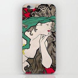 Vintage Alphonse Mucha Poster Girl iPhone Skin
